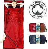 MIQIO 2in1 Baumwoll-Hüttenschlafsack mit durchgängigem Reißverschluss (Koppelbar): Leichter Komfort Reiseschlafsack und XL Reisedecke in Einem - Sommer Schlafsack Innenschlafsack (Rot,Rechts)
