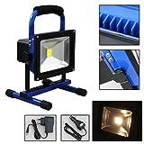 Hengda LED 10W Akku Strahler Warmweiß Baustrahler H-Model Gestell Arbeitsleuchte Handlampe mit einem Auto-Ladegerät Flutlicht Beleuchtung, Blau