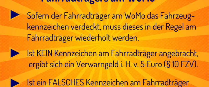 KFZ-Kennzeichen am WoMo-Fahrradträger